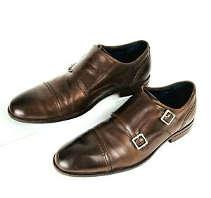 COLE HAAN GRAND 360 Double Monk Strap Loafer Brown Cap Toe Men's Shoes Size 11.5