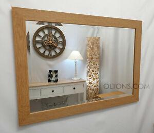 Natural Oak Finish Wood Frame Wall Mirror Rectangular Bevelled Glass 90x65cm