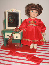 "Collector's Choice 10"" Bisque Porcelain Doll w Red Hat Vanity COA Dan Dee No Box"