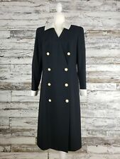Vintage Lilli Ann Dress Black White Satin Collar Cuff Sleeves Double Breasted