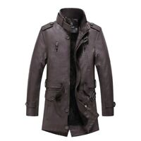 Winter Men's Leather Jacket Outwear Trench Coat Fleece Lined Thick Belted Casual