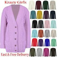 Women's Ladies Long Sleeve Button Top Chunky Cable Knitted Grandad Cardigan 8-24