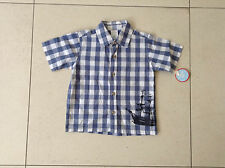 BNWT BOYS SHORT SLEEVE SHIRT BLUE AND WHITE GINGHAM AGE TWO