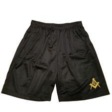 Black Mason Freemason Masonic Mens Athletic Jersey Mesh Basketball Shorts M-5Xl