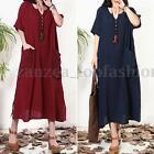 ZANZEA Women Short Sleeve Vintage Kaftan Loose Casual Loose Long Maxi Dress
