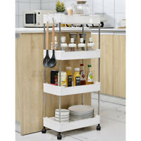 2/3/4 Tiers Home Storage Holder Rack Kitchen Bathroom Shelf Slim Trolley Cart