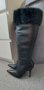 *RAVEL SIZE 3/36 SEXY HIGH HEEL FUR TRIM BLACK LEATHER BOOTS*WORN ONCE*