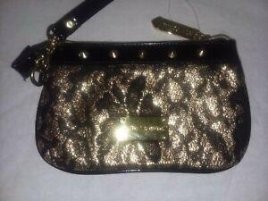 BETSEY JOHNSON Purse Black & Gold Lace Look Studded Zippered Clutch Wristlet