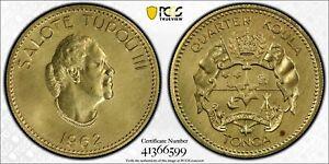 "Tonga 1962 1/4 Koula Gold Coin ""Queen Salote Tupou III"" PCGS MS65 ~ 0.2393 AGW"