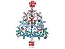Merry Holiday Festive Pin Brooch Jewel Multi Color Christmas Tree Alloy Crystal