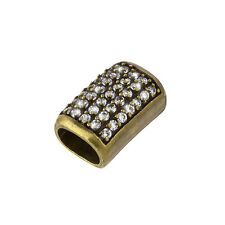 Brass Curved Tube Slider Charm with Crystals Fits Regaliz Leather 20mm (F24/6)