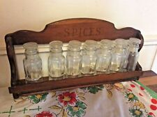 Vintage wood wall table Spice Rack shelf with glass Jars bottles wooden