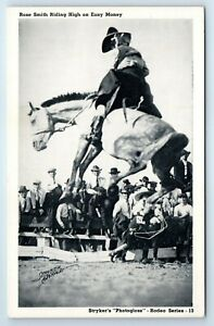 Vintage Postcard Rose Smith Riding High On Easy Money Rodeo Cowgirl