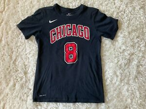 Nike NBA Chicago Bulls ZACH LAVINE NAME AND NUMBER TEE Shirzey Small Black