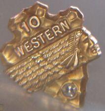 Vintage 10k gold western airline 1diamond 10year service award pin
