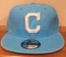 Cleveland Indians Pastel Neon Blue New Era 9Fifty Snapback Hat Cap Distressed