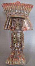 Gorgeous Unique Pre Columbian  AZTEC MAYAN 7 Hole Clay Flute Folk Art Pottery