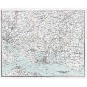 PORTSMOUTH, SOUTHSEA & District - Vintage Folding Map 1929