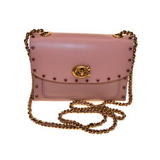 Coach Crystal Border Rivets Parker 18 Shoulder Bag Nude Pink NWT #35566