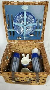 Vintage Wicker Picnic Basket Victorian Brooks Brothers Very Rare Great Piece
