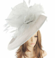 Silver Grey Large Ascot Hat for Weddings, Ascot, Derby M10