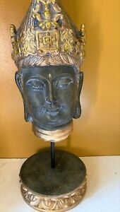 "Antique Thailand Resin Sukhothai Buddha Bust / Head On Pedestal Stand 16"" H"
