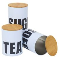 4 Metal Tea Coffee Sugar Spices Storage Food Tins Shabby Chic Wooden Holder Rack