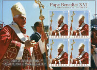 Liberia Pope Benedict XVI Stamps 2008 MNH First Papal Visit to US Popes 4v M/S