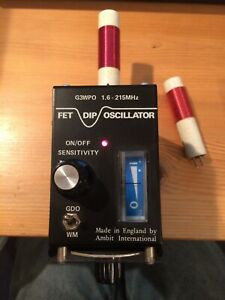 Ambit FET Grid dip oscillator 1.6 to 215MHz with 5 plug-in coils. Working.