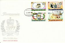 1977 Tanzania QEII Silver Jubilee souvenir sheet First Day Cover Flags Royalty