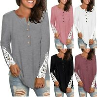 Womens Long Sleeve Round Neck Solid Color Lace Buttons Henley-Shirts Tunic Tops