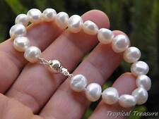 "9-11mm Baroque (7 1/4"" 18cm) White Freshwater Pearl Bracelet  - 925 SOLID Silver"