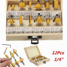 "12Pc Shank Tungsten Carbide Router Bit Set With 1/2"" Shank Cutter Laminate"