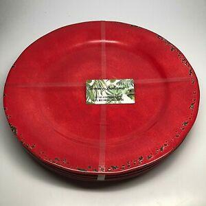 Tommy Bahama Melamine 4 Dinner Plate Set Red Crackle, Tuscan Rustic
