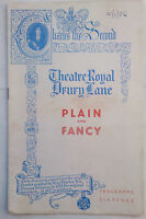 PLAIN AND FANCY.JOSEPH STEIN.THEATRE ROYAL PROGRAMME 1956.SHIRL CONWAY.R DERR
