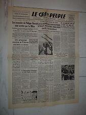 FAC-SIMILE A LA UNE JOURNAL CRI DU PEUPLE 21/07 1944 ATTENTAT HITLER WALKYRIE