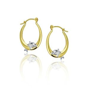 Polished Shiny Jumping Dolphin Round Hoop Earrings Real 14K Yellow & White Gold
