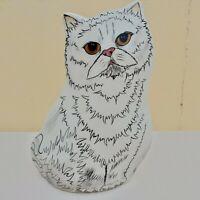 "Persian White Fluffy Cat Vase Gold Hazel Eyes Vase Cats by Nina Lyman 8"".2001"