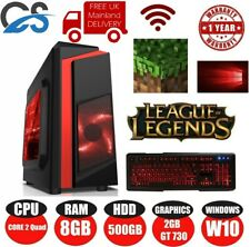 ULTRA FAST GAMING TOWER PC QUAD CORE 8GB 500GB NVIDIA GT 730 2GB Black/Red LED