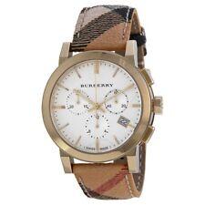 Burberry BU9752 - Women's  The City White Plaid Leather Watch
