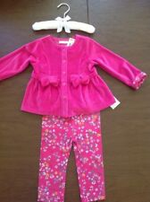 NWT First Impressions Baby Girls Pink Fleece Top & Floral Leggings Sz 12 M