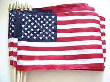12 TOTAL 12x18 INCH SEWN HEMMED US MADE AMERICAN HAND HELD STICK FLAGS COTTON