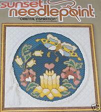 "1980 Sunset ""Oriental Inspiration"" Butterfly & Flowers Needlepoint Kit 12x12 NIP"