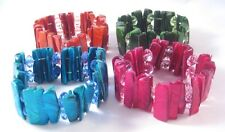 Set of 4 New High Gloss Superb Quality Shell Stretch Bracelets #B1324,5,6,7
