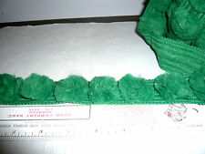 """NEW 4 YARDS WIDE CHENILLE  TRIM  ~ BRIGHT GREEN 1½""""  Wide   NOS"""