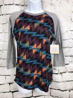 NWT! LuLaRoe LLR Randy Shirt Gray Sleeve Purple Orange ZigZag Geometric Print XS