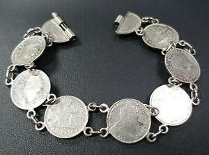 Münzen Armkette 900 SILBER Silberarmband filigran bracelet coin nacre Armband