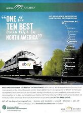 """AMTRAK USA NATIONAL RAILROAD """"CASCADES"""" VANCOUVER TO EUGENE 10 BEST TRAINS AD"""