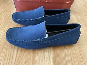 Donald Pliner Navy Vazo Nubuc Leather Loafers Mocassins Shoes 10 M