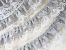 """5 yards Double Layer Silver Satin & White Floral Ruffle Lace 1"""" Trim/Sewing T186"""